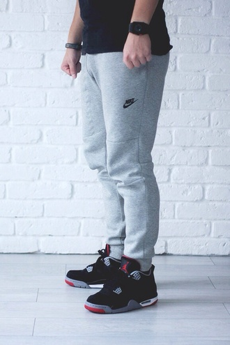 jordan's menswear air jordan jordans jordan retro grey sweatpants nike