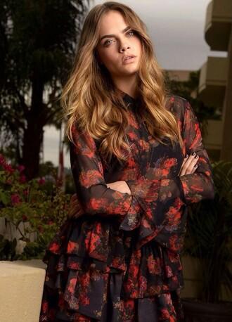 blouse dress cara delevingne editorial sheer floral