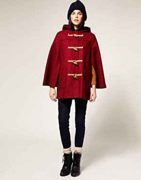 Gloverall wool melton duffle cape coat at asos