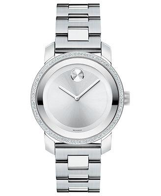Movado Watch, Swiss Bold Diamond (2/5 ct. t.w.) Stainless Steel Bracelet 36mm 3600149 - Watches - Jewelry & Watches - Macy's