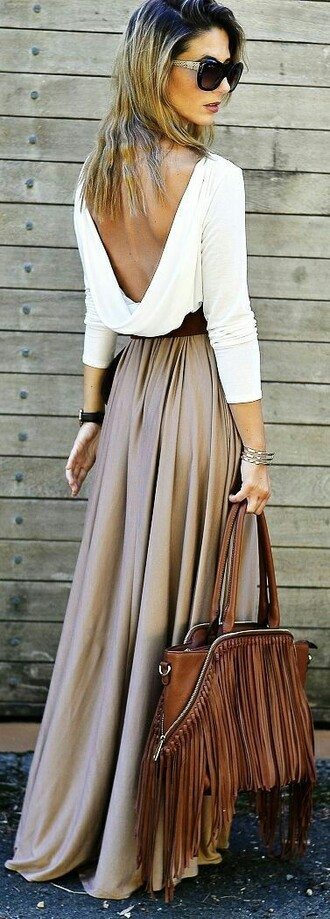 skirt shirt blouse maxi skirt white backless top tall girls taupe fringed bag backless backless top oversized sunglasses