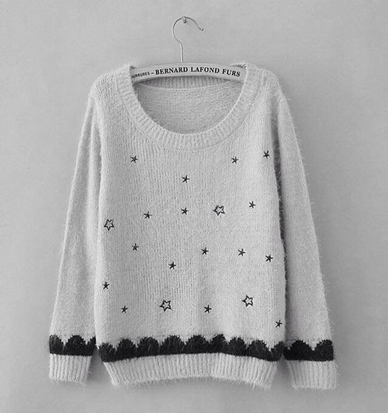 sweater stars hipster indie black and white oversized sweater