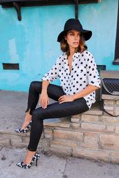 viva luxury,blogger,hat,polka dots,floppy hat,black pants,shoes,pants,bag,jewels,belt
