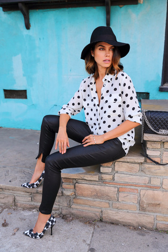 viva luxury blogger shirt hat polka dots floppy hat black pants stilettos shoes pants bag jewels belt