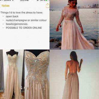 dress prom prom dress evening dress long evening dress fancy nude champagne rhinestones dress open back dresses long sleeve prom dress long prom dress sequin prom dress pink prom dress 2016 long pink prom dress formal dress formal event outfit