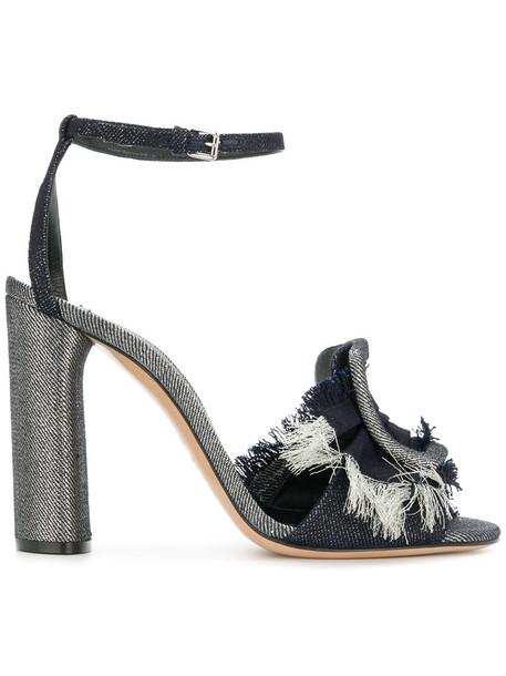 denim women sandals leather cotton blue shoes