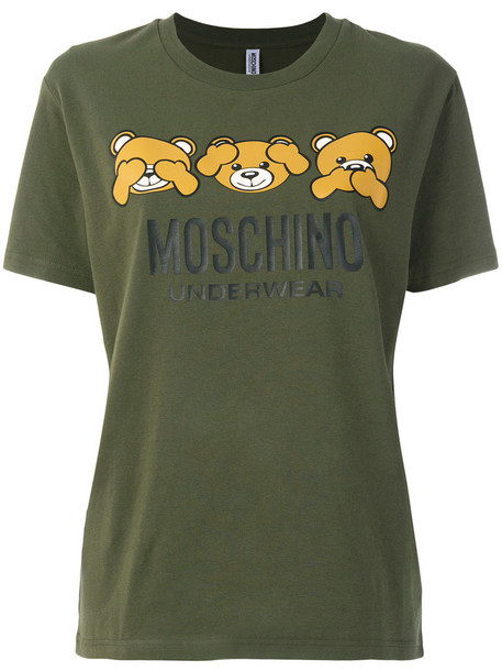 Moschino t-shirt shirt t-shirt bear women spandex cotton print green top