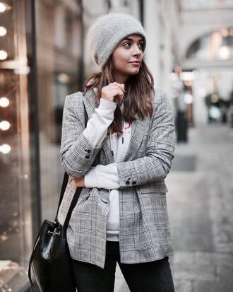 jacket beanie tumblr check blazer plaid blazer grey blazer blazer hat