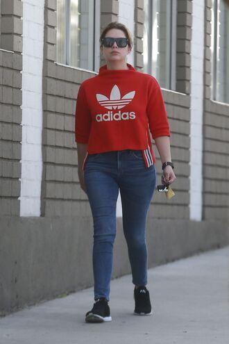 sweater adidas sweatshirt jeans sunglasses ashley benson streetstyle