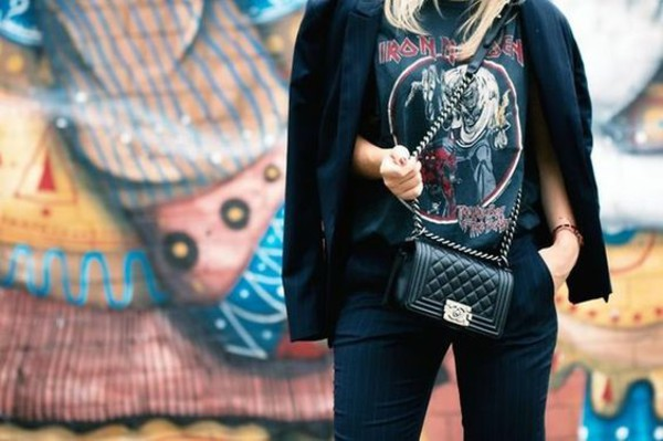 56c51e8a t-shirt tumblr iron maiden black t-shirt graphic tee pants black pants bag.