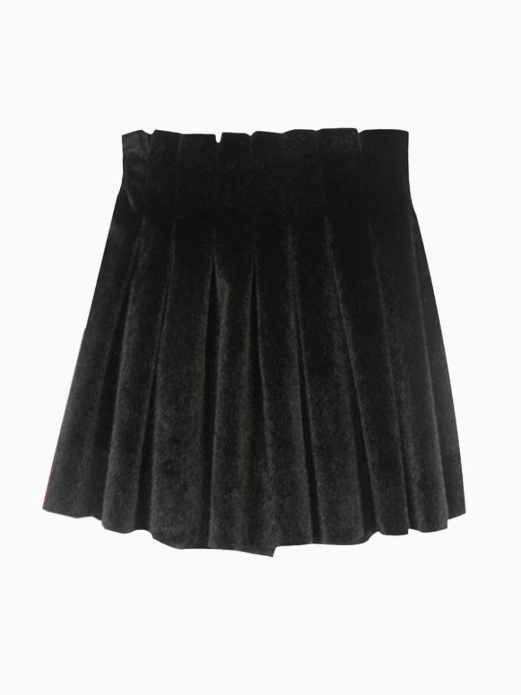 Black Velvet Skater Skirt | Choies