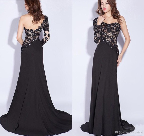 Aliexpress.com : Buy Party Dresses Sexy Appliques Black Long Evening Dresses 2014 Elegant Beach One Shoulder Full Sleeve Prom Dress Custom Made from Reliable dress gala suppliers on Cutie Bridal Dress