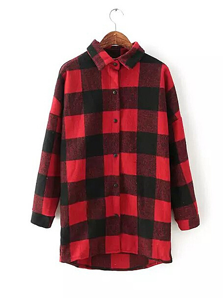 Classic red & black plaid long sleeve high low lapel blouse