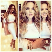 skirt,khloe kardashian,blonde hair,white top,dress,shirt,midi skirt,crop tops