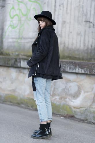 andy sparkles blogger hat patent shoes suede jacket black jacket acid wash jeans