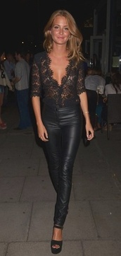 shirt,lace,blouse,black,pants,top,sexy,girl,classy,millie mackintosh,3/4 sleeve,fancy top,black lace top,black lace,deep cut,all black everything,leather pants,lace blouse,hot,elegant,laid back,biker chick,badass,lace top,scalloped edges,scalloped shirt,scalloped lace,black top,deep v top,see through blouse,jacket,dentelle,clothes,style
