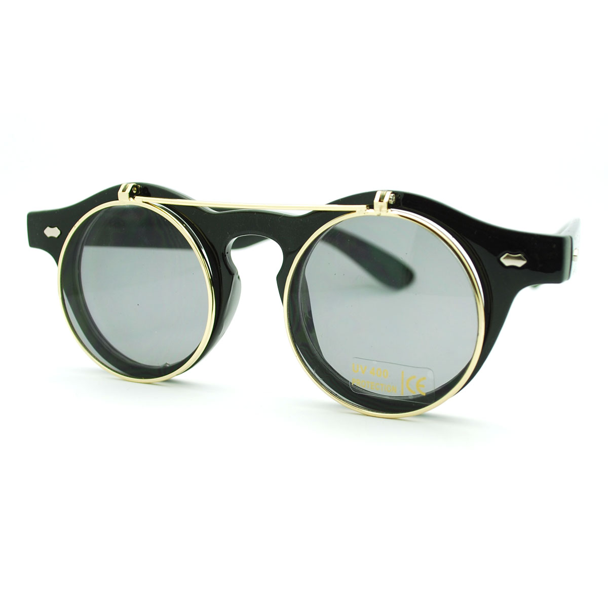 Trendy high fashion chic flip up perfect circle round sunglasses
