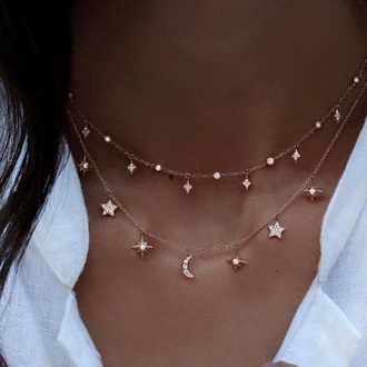 jewels crystal choker necklace necklace diamonds rose gold sun moon stars rose gold layered necklace