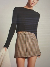 skirt,plaid,plaid skirt,brown,short skirt,mini skirt