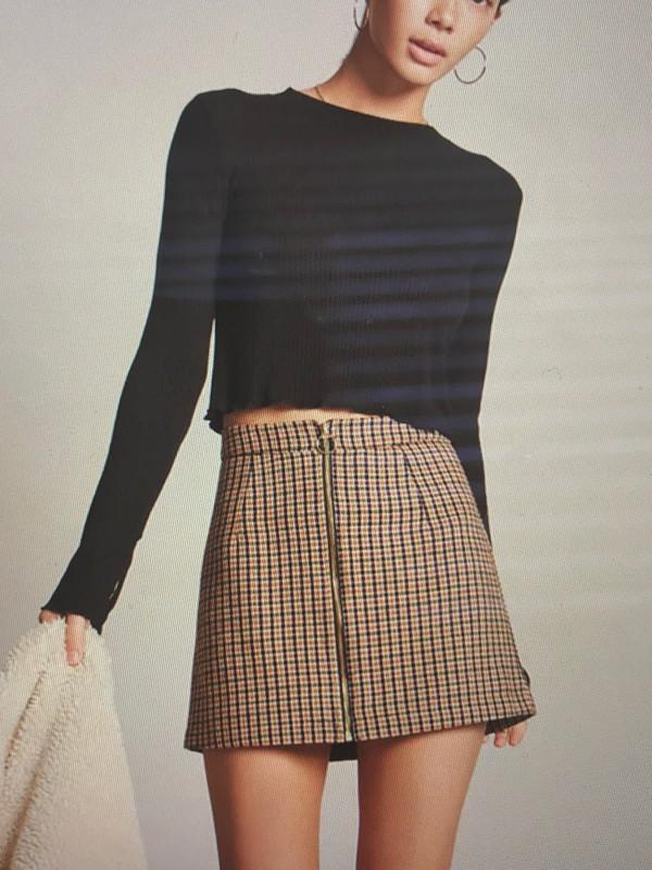 skirt plaid plaid skirt brown short skirt mini skirt