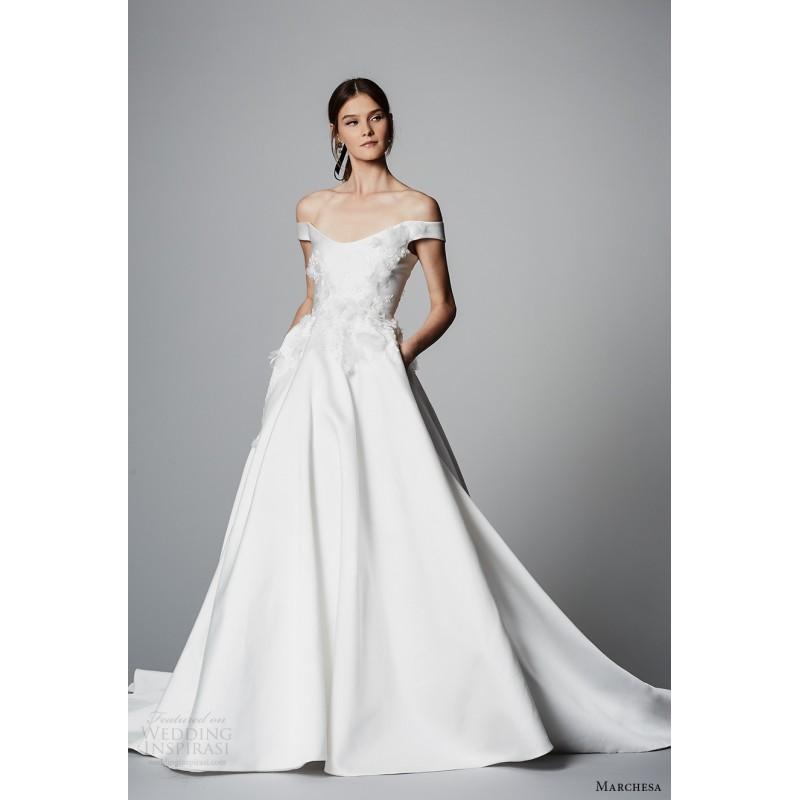 dae720e0 Marchesa Spring/Summer 2018 Chapel Train Satin Sweet Ivory Hand-made  Flowers Off-the-shoulder Aline Short Sleeves Wedding Dress ...