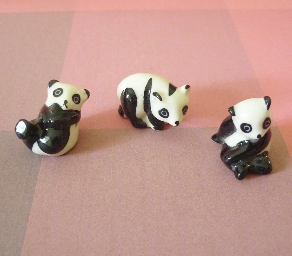 Miniature panda bear figurine animal ceramic -panda statue -Doll house decorative Mini animal ornaments collection -home decor -fairy house