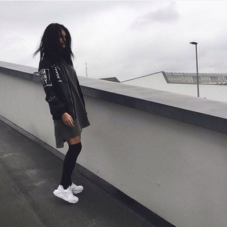 dress baseball jacket jacket nike shoes socks style fashion toast fashion vibe fashion is a playground fashion fashion coolture grunge khaki black white