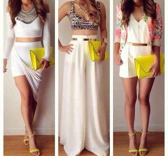 skirt crop tops neon floral jewels shoes blazer white belt jumpsuit jacket top bag