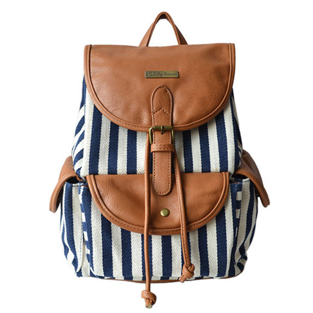 [grxjy5204205]Fashion Contrast Color Canvas Backpack Travelling Bag