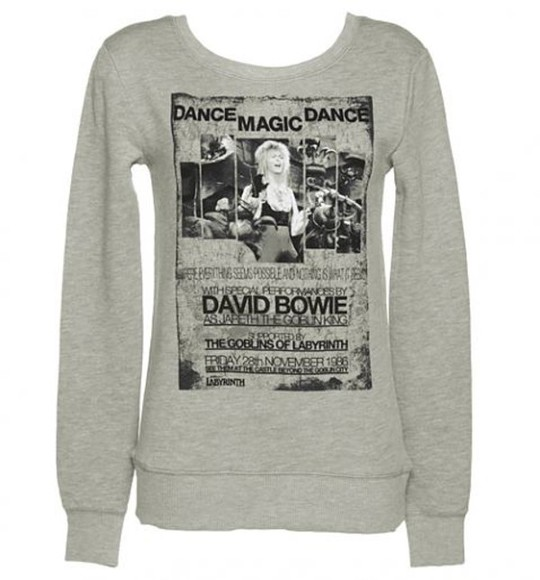 shirt long sleeved unisex sweater retro black david bowie david bowie dance magic dance dance labyrinth 1980s 1986 80s grey uk british pullover warm cute winter font text song picture jareth goblin king european popular pop music artist square u-neck scoop neck thermal classic timeless