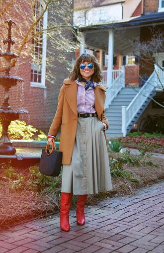 mysmallwardrobe blogger shirt skirt bag shoes coat sunglasses scarf handbag red boots striped shirt button up skirt spring outfits