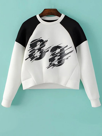 sweater fashion style sporty black and white long sleeves sportswear cool trendy number casual zaful