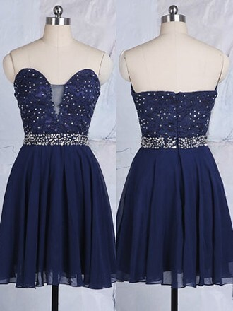 dress short prom dress fashion navy style sparkle strapless sexy short homecoming dress dressofgirl