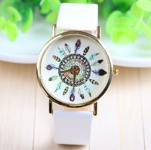 Hk new fashion leather geneva peacock birds feathers pattern watch for women dress watch quartz watches