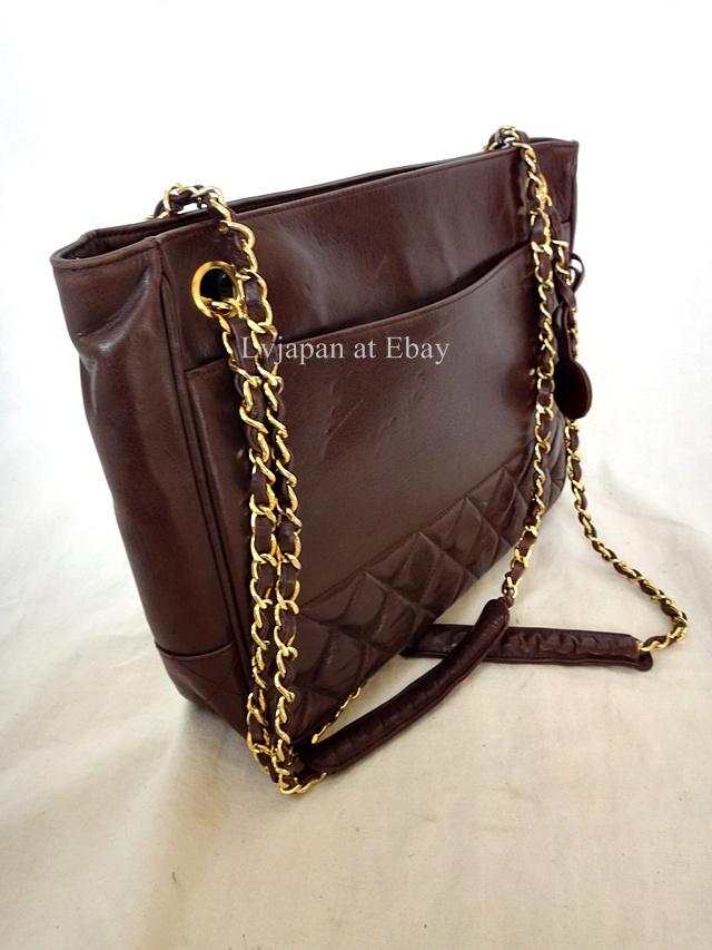Auth Chanel Dark Brown Classic Lambskin Tote Shoulder Bag | eBay