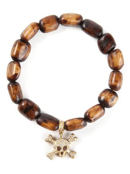 Loree Rodkin skull wood women gold brown jewels