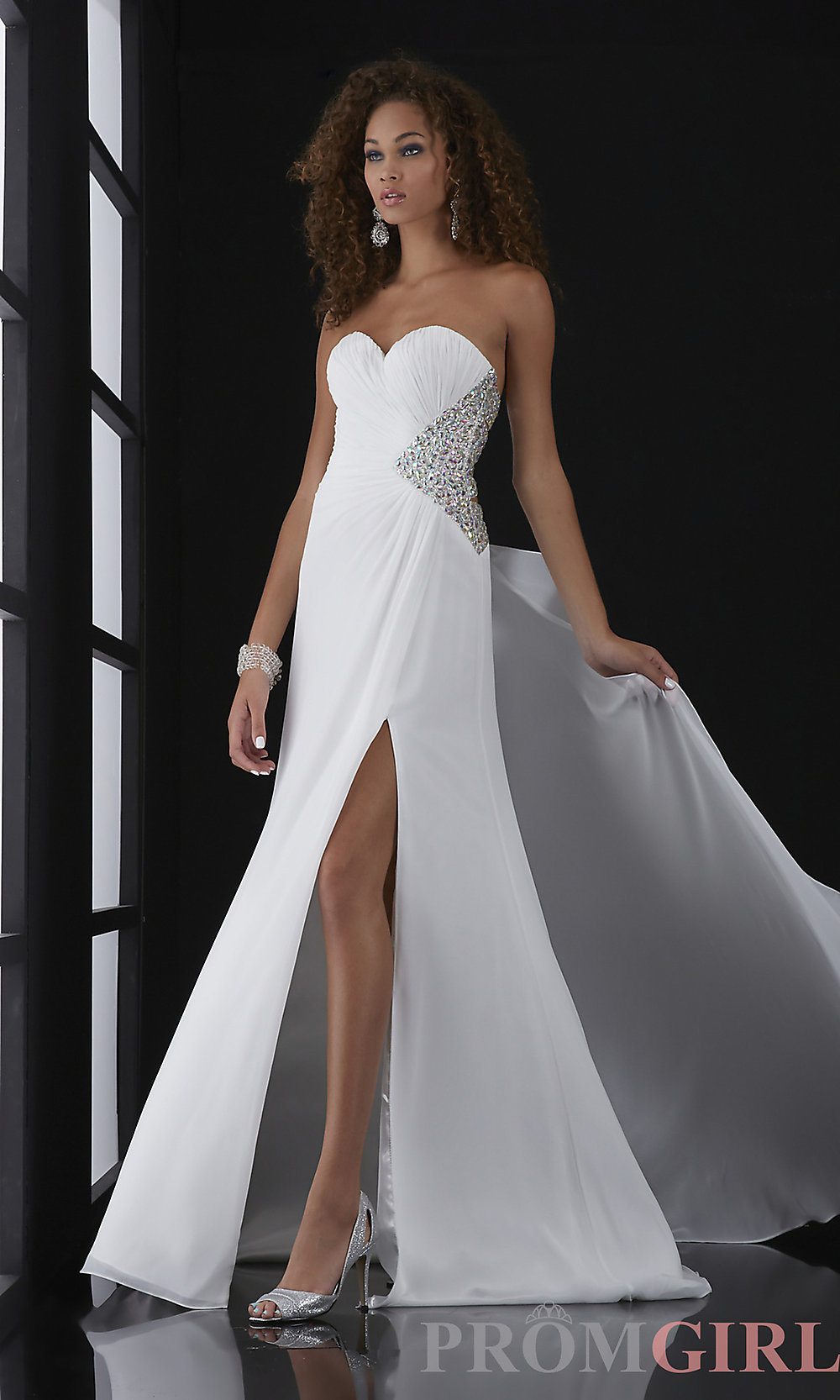 Jasz Strapless Beaded Gown with Cut Out Back
