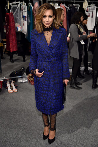 coat jumpsuit lace polka dots sheer see through pumps fashion week 2016 ny fashion week 2016