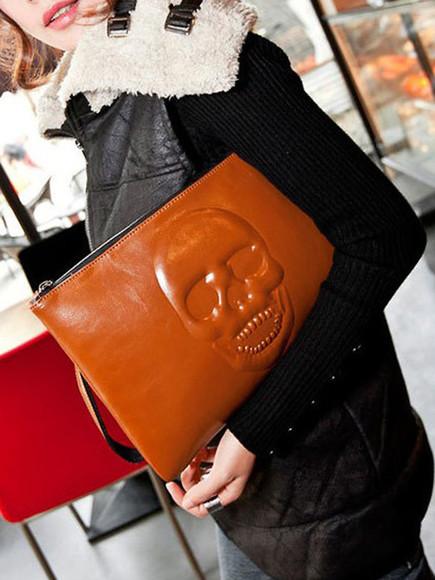 bag clutch purse skull