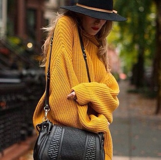 sweater mustard yellow oversized sweater knitted sweater