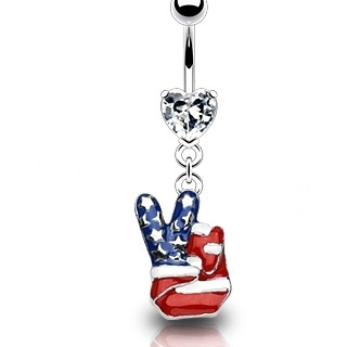 American Flag Peace Sign Belly Button Ring Dangle