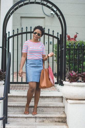 pinksole blogger sunglasses jewels t-shirt skirt shoes bag scarf blue skirt handbag striped top sandals spring outfits