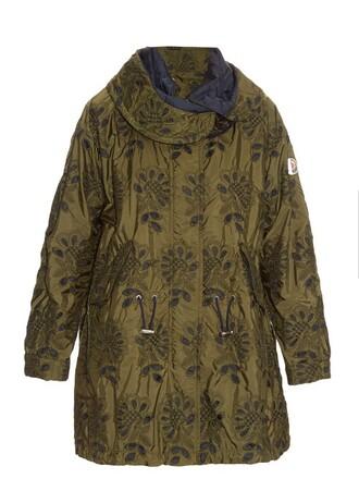 parka lace floral khaki coat