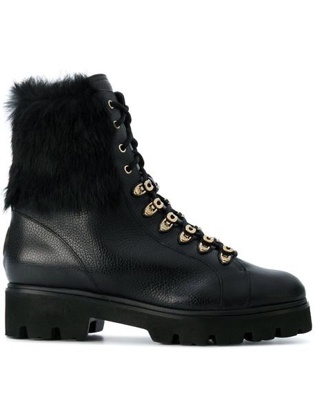 hair fur women boots leather black shoes