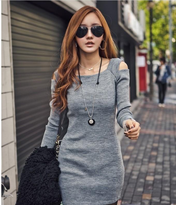 Sexy long sleeve shoulder cute design show thin dress