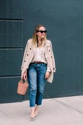 bag,pink bag,net bag,coat,top,white top,handbag,jeans,denim,blue jeans,trench coat