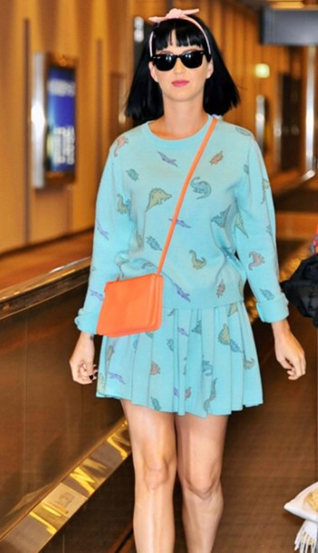 dinosaur dinosaur katy perry blue skirt pleated skirt