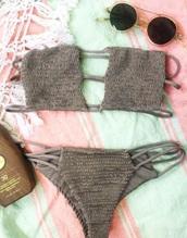 swimwear,bikini,grey,grey bikini,crochet,knit,crochet grey bikini,knit bikini,grey knit bikini,crochet bikini,boho,bohemian,boho bikini,bohemian bikini,boho swim,bohemian swim,straps,strappy,strappy bikini,bandeau crochet bikini,strappy bikini top,strappy swimwear