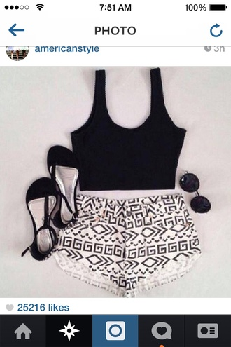 shorts high waisted crop tops crop tank aztec black and white high waisted shorts tank top black white