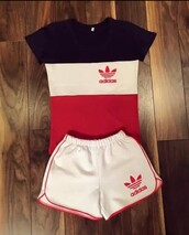 shorts,adidas shorts,adidas outfit,adidas,adidas shirt,blouse,jumpsuit,tracksuit,sportswear,t-shirt,shirt,pants,red,addidas shirt,addidas pants,red white blue,short,short and shirt set,stripes,striped shirt